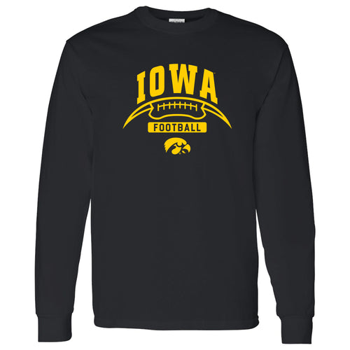 University of Iowa Hawkeyes Football Crescent Long Sleeve T Shirt - Black