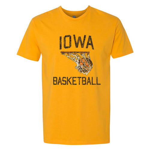 Retro Faded Basketball Iowa Hawkeyes Basic Cotton Short Sleeve T Shirt - Gold
