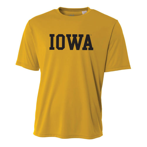 Basic Block Iowa Hawkeyes A4 Performance Cooling T Shirt - Gold