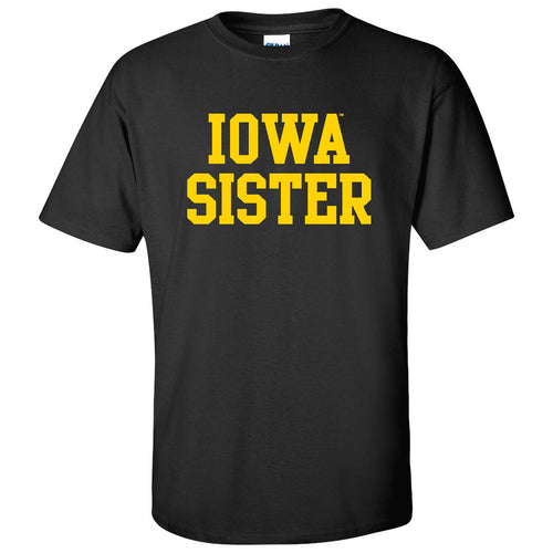 Basic Block Sister Iowa Hawkeyes Next Level Premium Cotton Short Sleeve T Shirt - Black