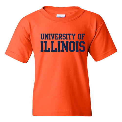 University of Illinois Fighting Illini Basic Block Cotton Youth T-Shirt - Orange