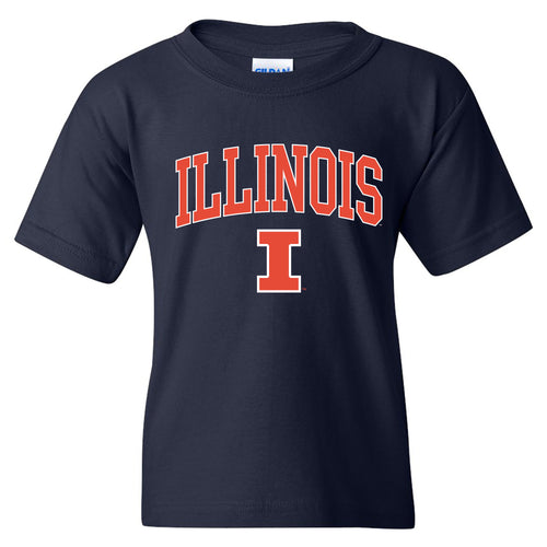 University of Illinois Fighting Illini Arch Logo Cotton Youth T-Shirt - Navy
