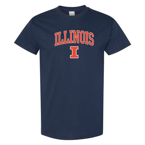University of Illinois Fighting Illini Arch Logo Cotton T-Shirt - Navy