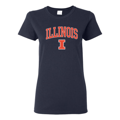 University of Illinois Fighting Illini Arch Logo Cotton Womens T-Shirt - Navy