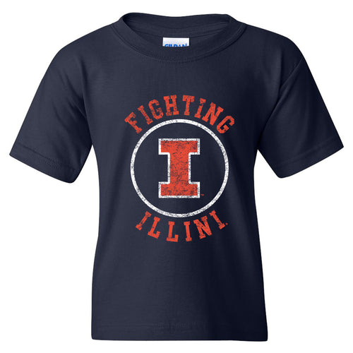 University of Illinois Fighting Illini Distressed Circle Logo Cotton Youth T-Shirt - Navy