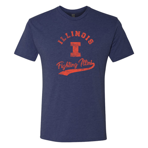 University of Illinois Fighting Illini Retro Script Next Level T-Shirt - Vintage Navy