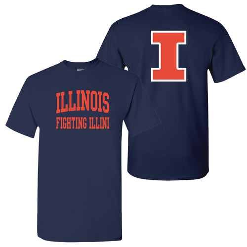 University of Illinois Fighting Illini Front and Back Print Cotton T-Shirt - Navy