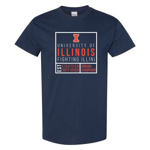 University of Illinois Fighting Illini Box Label Cotton T-Shirt - Navy