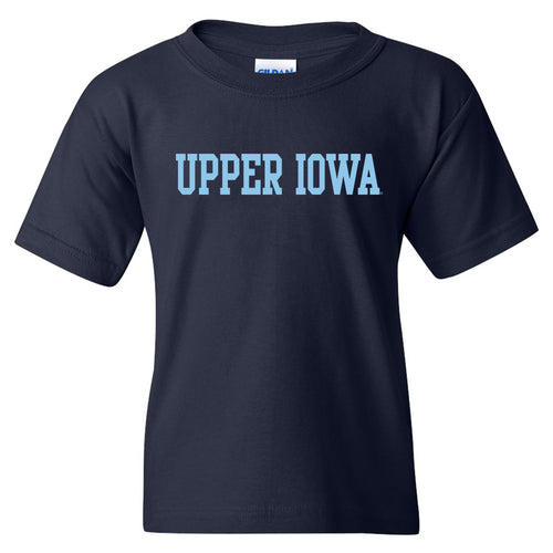 Upper Iowa University Peacocks Basic Block Heavy Cotton Youth Short Sleeve T Shirt - Navy