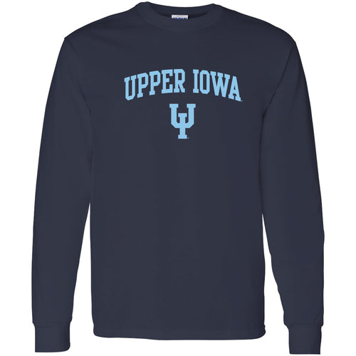 Upper Iowa University Peacocks Arch Logo Basic Cotton Long Sleeve T Shirt - Navy