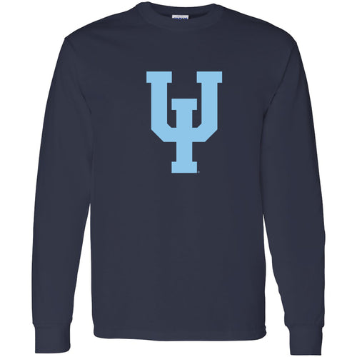 Upper Iowa University Peacocks Primary Logo Basic Cotton Long Sleeve T Shirt - Navy