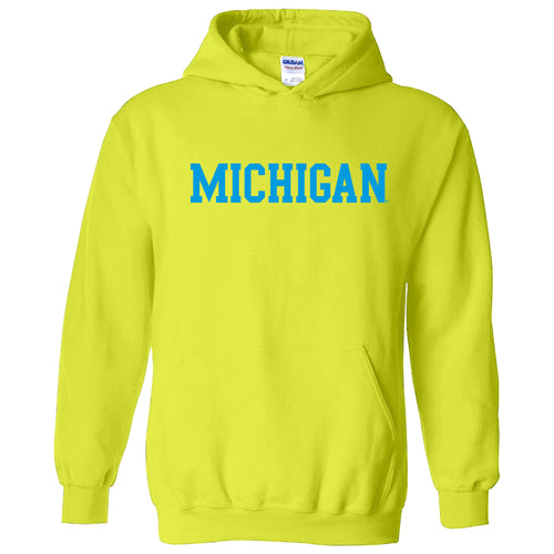 Michigan Basic Block Neon Hoodie - Safety Green