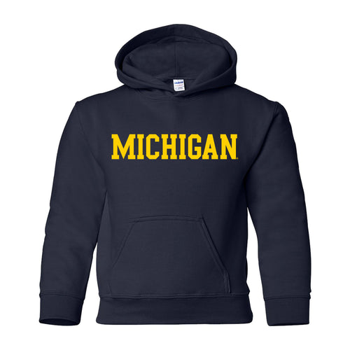 Basic Block University of Michigan Youth Basic Cotton Hoodie - Navy