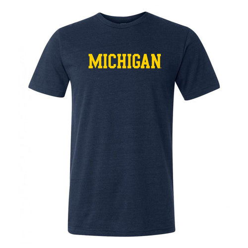 University of Michigan Wolverines Basic Block Canvas Short Sleeve Triblend T-Shirt - Solid Navy Triblend