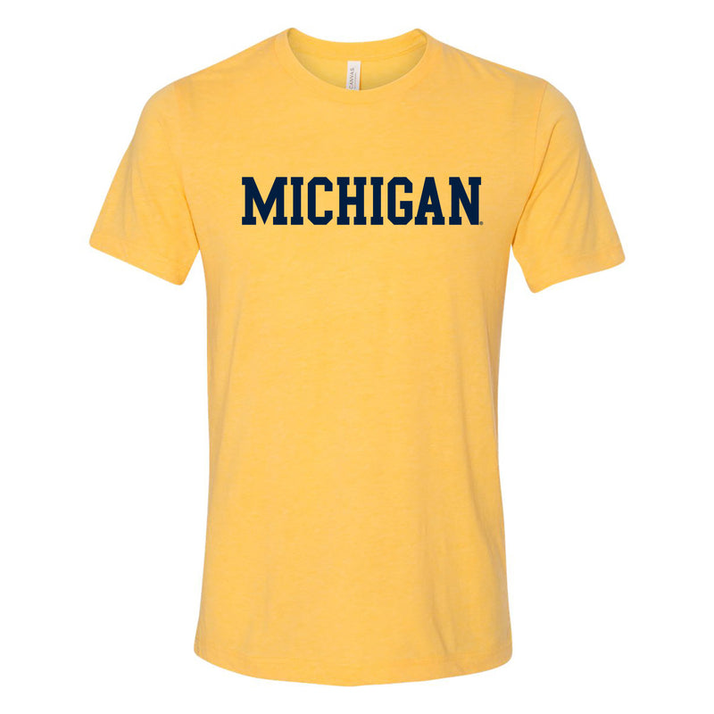 University of Michigan Wolverines Basic Block Canvas Short Sleeve Triblend T-Shirt -Yellow Gold Triblend