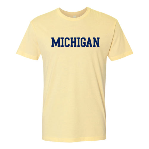 Basic Block University of Michigan Next Level Premium Cotton Short Sleeve T Shirt - Banana Cream