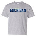 Basic Block University of Michigan Basic Cotton Short Sleeve Youth T Shirt - Sport Grey