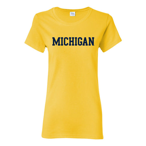 Basic Block University of Michigan Womens Basic Cotton Short Sleeve T Shirt - Daisy