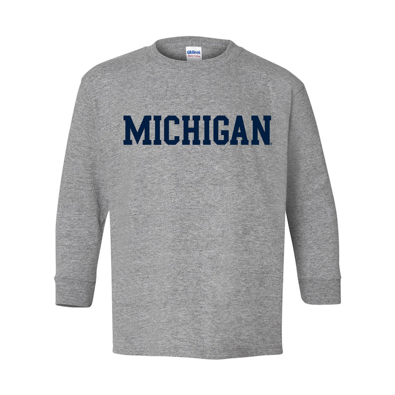 Basic Block University of Michigan Youth Basic Cotton Long Sleeve T Shirt - Sport Grey