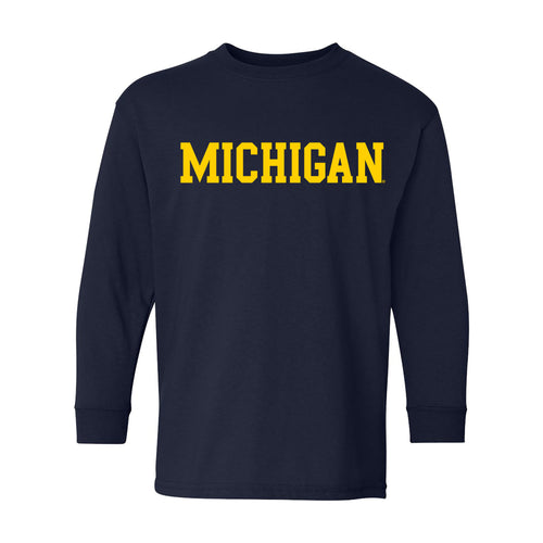 Basic Block University of Michigan Youth Basic Cotton Long Sleeve - Navy