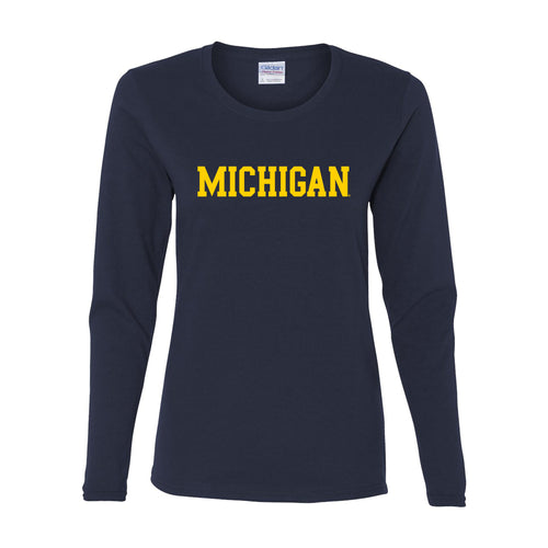 Basic Block University of Michigan Womens Basic Cotton Long Sleeve T Shirt - Navy