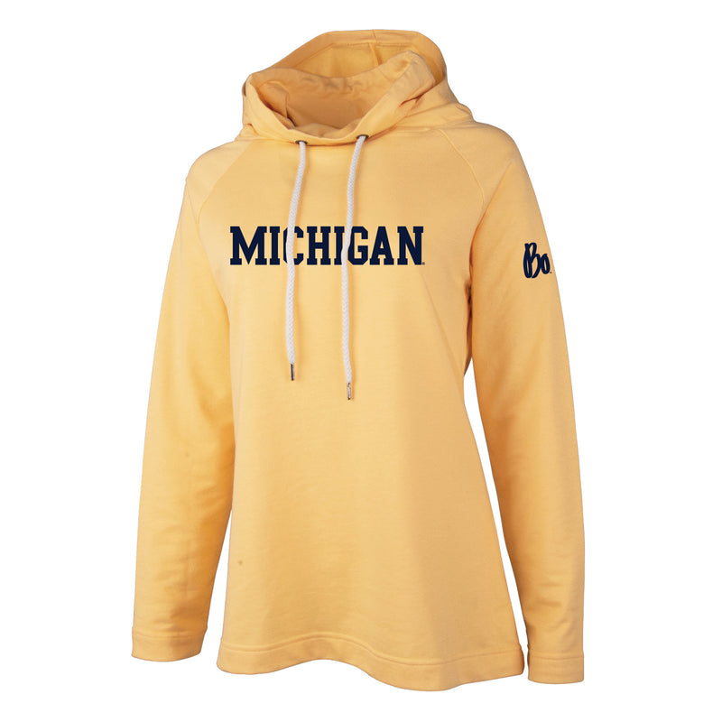 Block University of Michigan Bo Schembechler Signature Women's Essex Hoodie - Sunflower