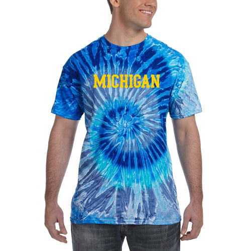 Basic Block Michigan Tie Dye Short Sleeve T Shirt - Blue Jerry
