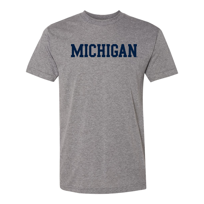 Basic Block University of Michigan American Apparel Triblend Short Sleeve T Shirt - Athletic Grey
