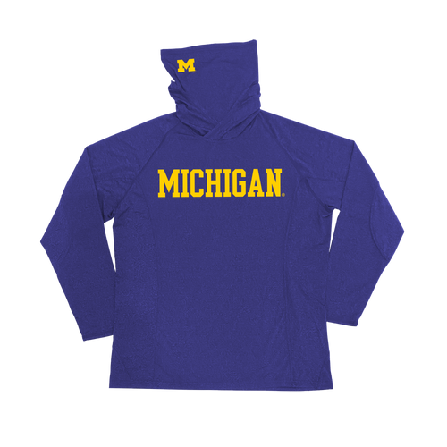 Michigan Hoodie Mask Youth Longsleeve Performance Shirt - Navy