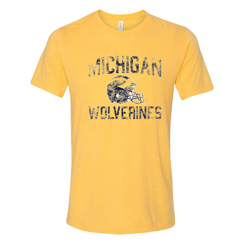 University of Michigan Wolverines Faded Football Helmet Canvas Short Sleeve Triblend T-Shirt - Yellow Gold Triblend