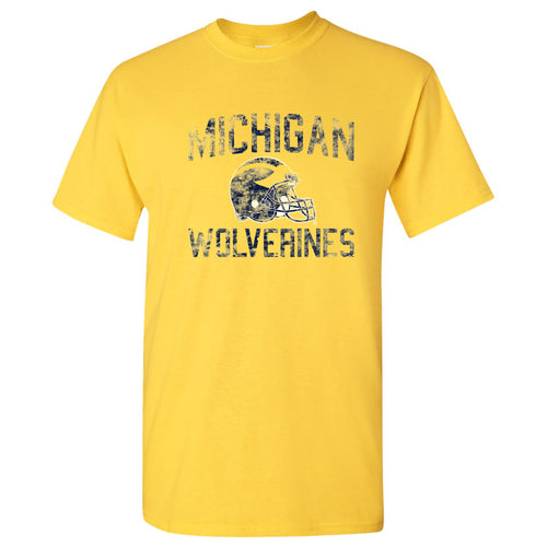 University of Michigan Wolverines Faded Football Helmet Basic Cotton Short Sleeve T Shirt - Daisy