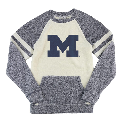 Primary Logo Michigan Boxercraft Cozy Contrast Crew - Denim/Oatmeal