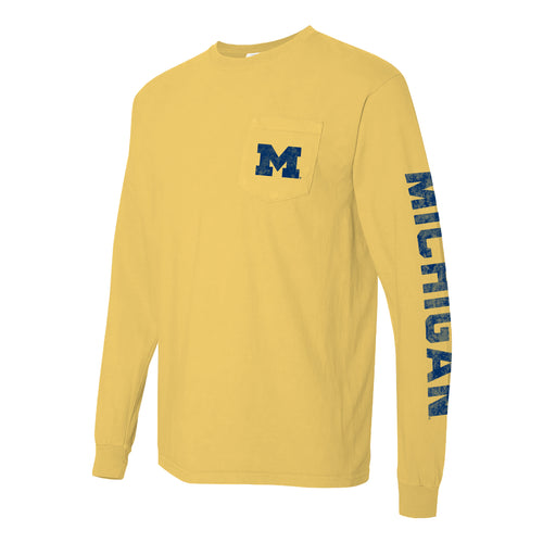 Left Chest and Sleeve University of Michigan Comfort Colors Long Sleeve Pocket Tee - Butter