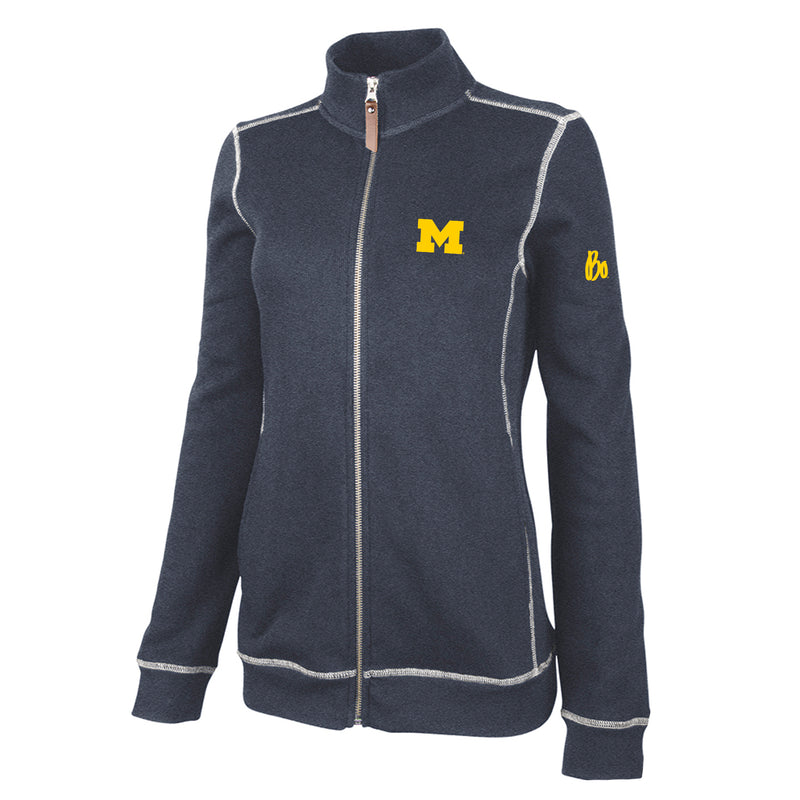 Bo Schembechler Signature University of Michigan Block M Women's Conway Jacket - Navy Heather
