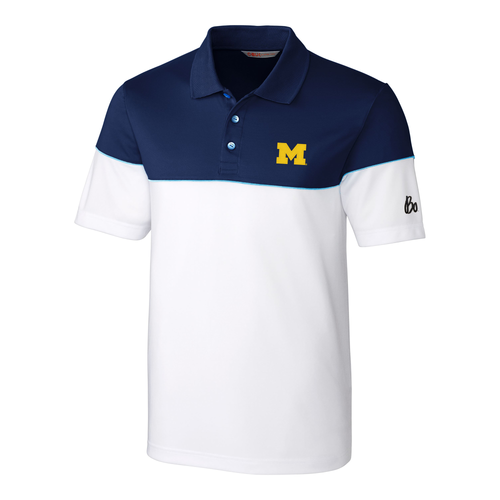 Block M Bo Sig Michigan Wolverines C&B Harrington Polo - Navy/White