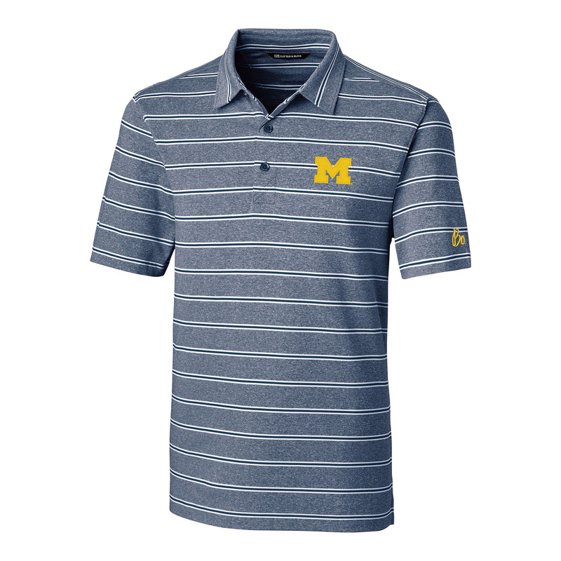 Block M Bo Sig University of Michigan Cutter and Buck Forge Heather Stripe Polo - Indigo