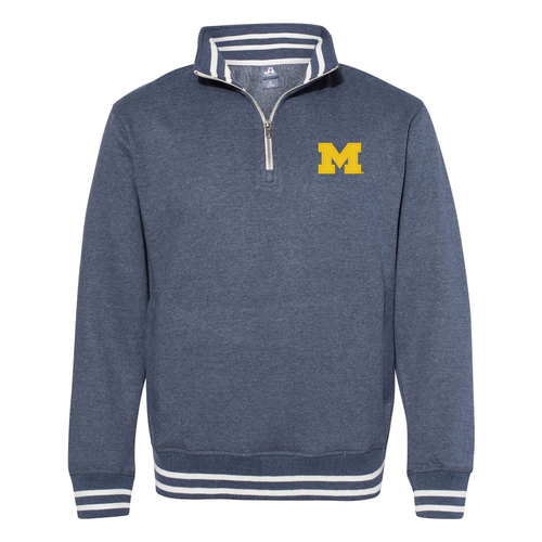 Michigan Block M Relay Quarter Zip - Navy