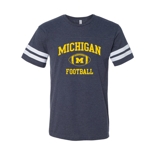 Classic Football Arch University of Michigan LAT Jersey Tee - Vintage Navy/White
