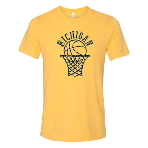 Retro Bball Hoop University of Michigan Canvas Triblend Short Sleeve T Shirt - Yellow Gold