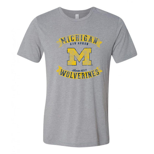 University of Michigan Vintage Banners Football Canvas Triblend T Shirt - Athletic Grey Triblend