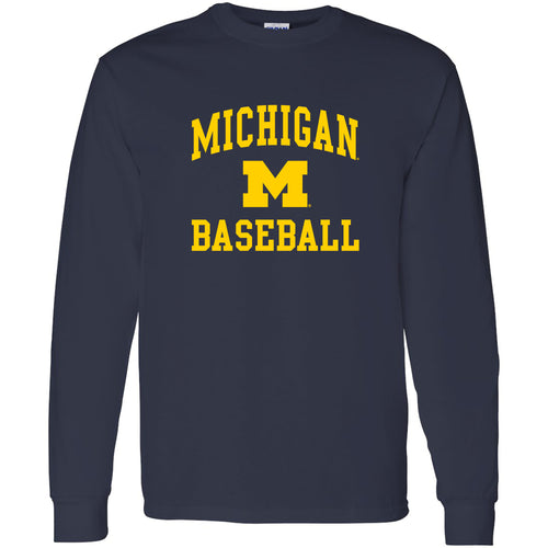 University of Michigan Wolverines Arch Logo Baseball Long Sleeve - Navy