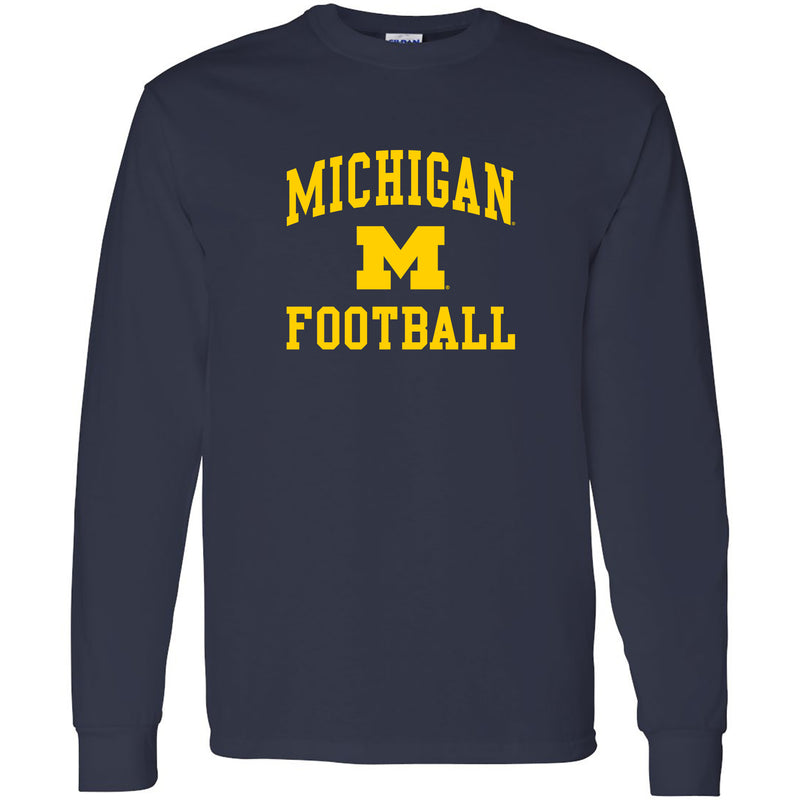 University of Michigan Wolverines Arch Logo Football Long Sleeve - Navy
