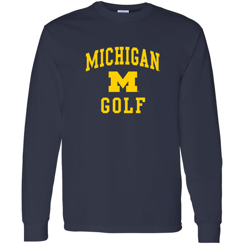 University of Michigan Wolverines Arch Logo Golf Long Sleeve - Navy