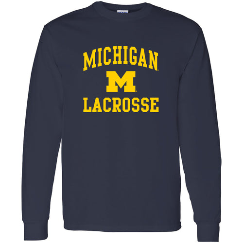 University of Michigan Wolverines Arch Logo Lacrosse Long Sleeve - Navy