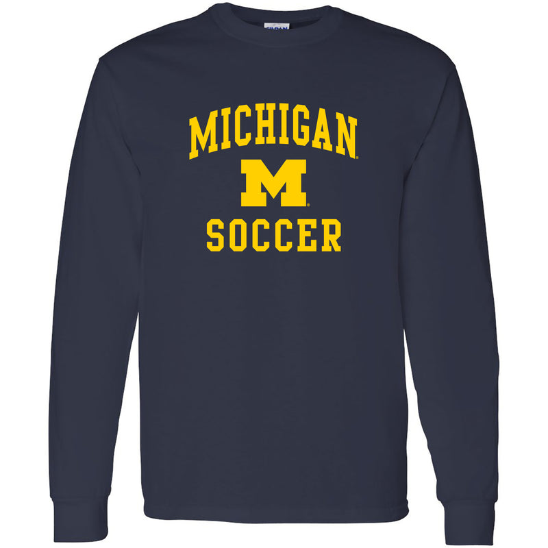 University of Michigan Wolverines Arch Logo Soccer Long Sleeve - Navy