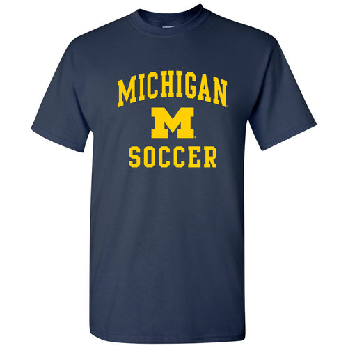 Arch Logo Soccer University of Michigan Basic Cotton Short Sleeve T Shirt - Navy