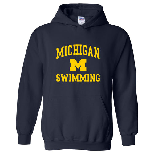 University of Michigan Wolverines Arch Logo Swimming Hoodie - Navy