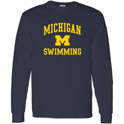 University of Michigan Wolverines Arch Logo Swimming Long Sleeve - Navy