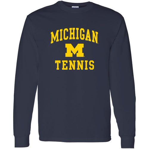 University of Michigan Wolverines Arch Logo Tennis Long Sleeve - Navy