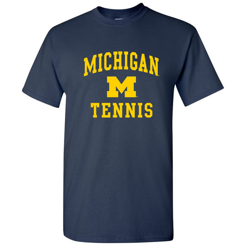 Arch Logo Tennis University of Michigan Basic Cotton Short Sleeve T Shirt - Navy